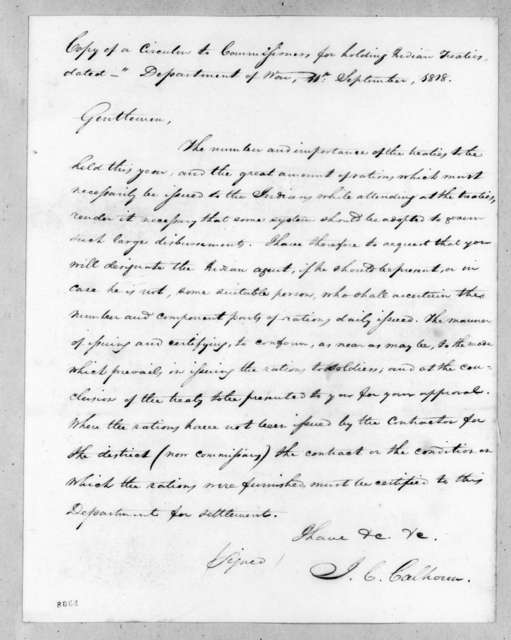 John Caldwell Calhoun to Indian Commissioners, September 11, 1818