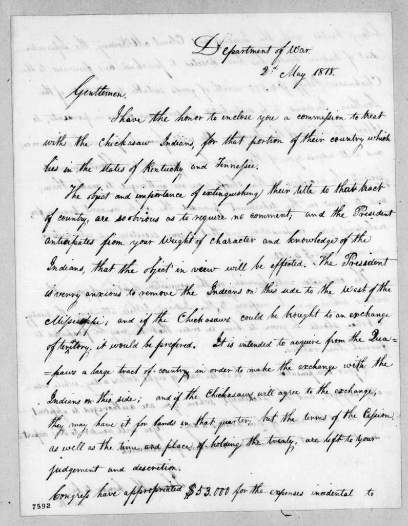 John Caldwell Calhoun to Isaac Shelby, May 2, 1818