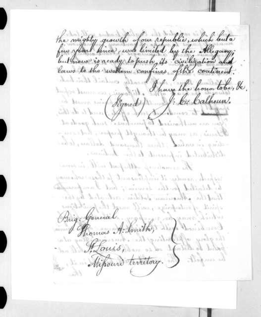 John Caldwell Calhoun to Thomas Adams Smith, March 16, 1818