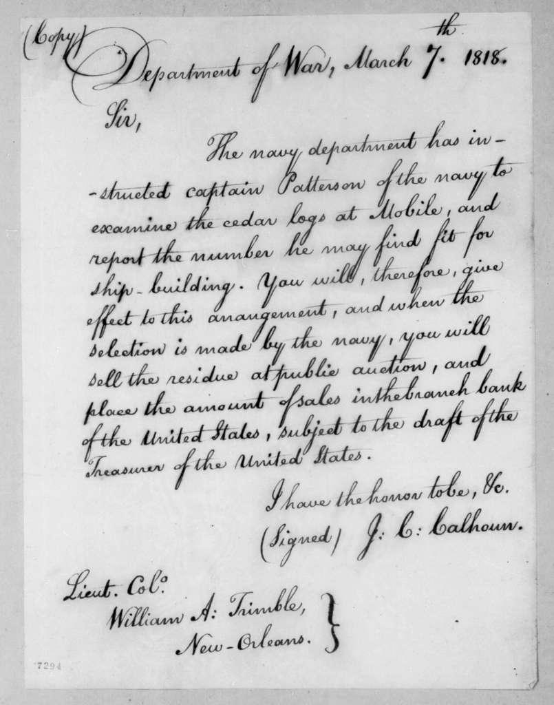 John Caldwell Calhoun to William Allen Trimble, March 7, 1818
