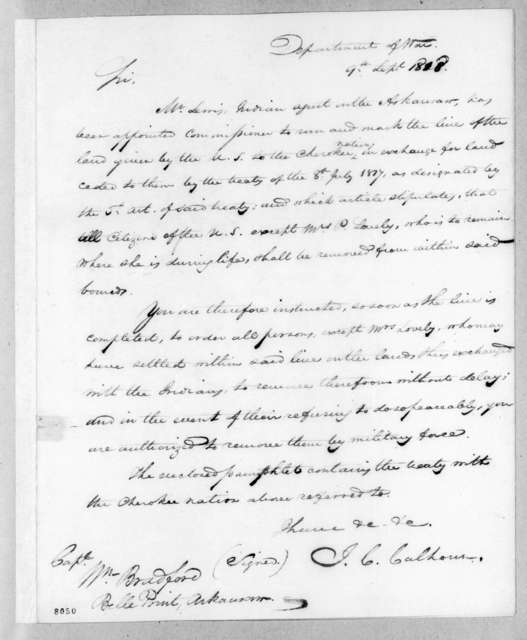 John Caldwell Calhoun to William Bradford, September 9, 1818
