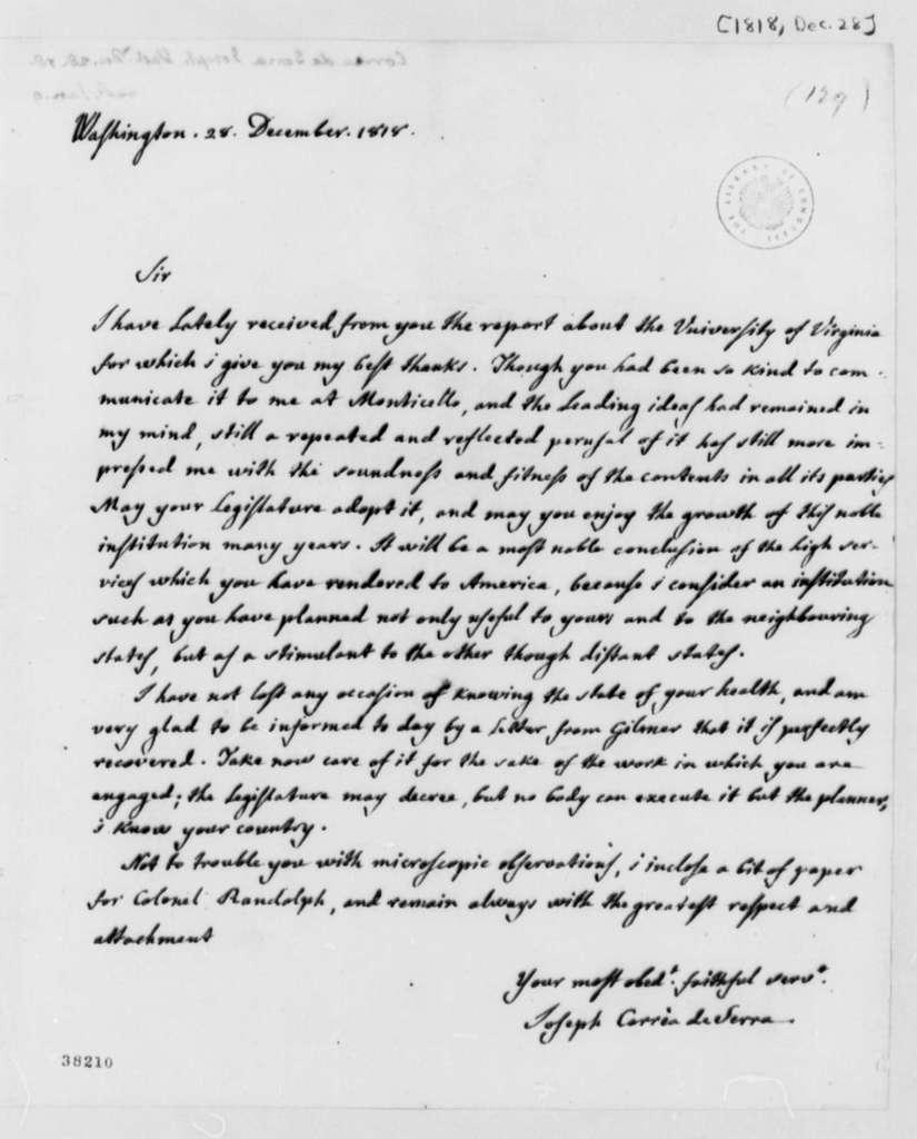 Jose Correa da Serra to Thomas Jefferson, December 28, 1818