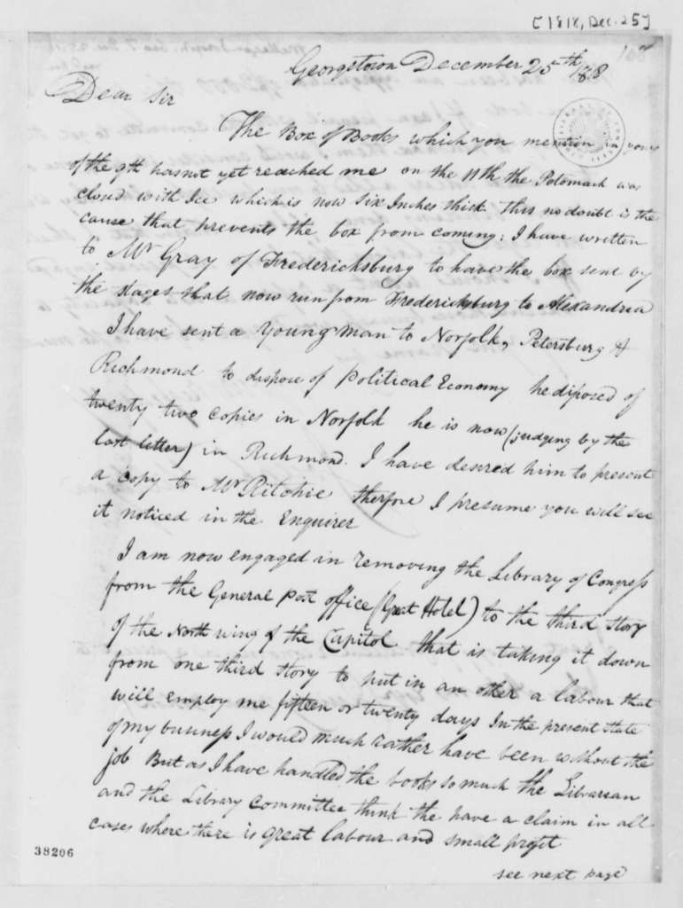 Joseph Milligan to Thomas Jefferson, December 25, 1818, with Printed Treatise and Note