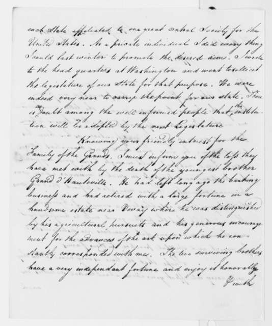 Le Ray de Chaumont to Thomas Jefferson, July 31, 1818