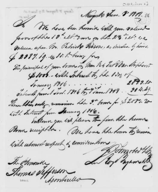 Leroy-Bayard & Company to Thomas Jefferson, June 8, 1818