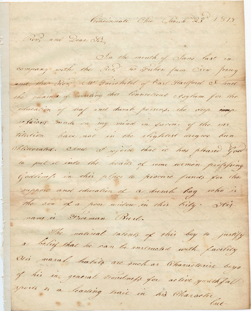 Letter from Joshua Lacy Wilson to Thomas Hopkins Gallaudet