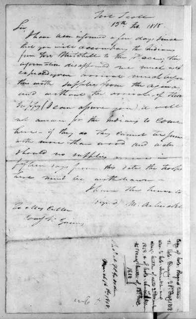 Mathew Arbuckle to Enos Cutler, February 15, 1818