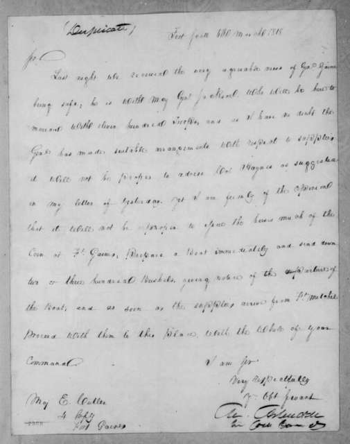 Mathew Arbuckle to Enos Cutler, March 6, 1818