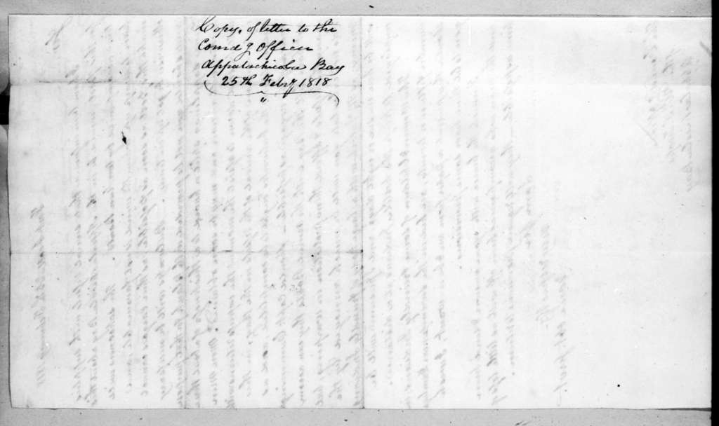 Mathew Arbuckle to Unknown, February 25, 1818