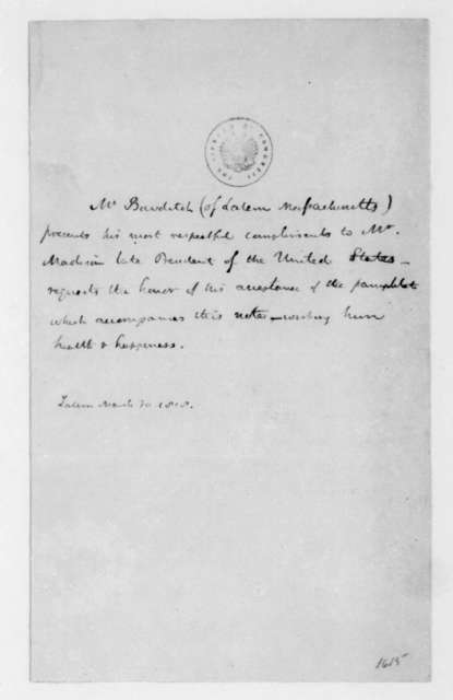 Nathaniel Bowditch to James Madison, March 30, 1818.