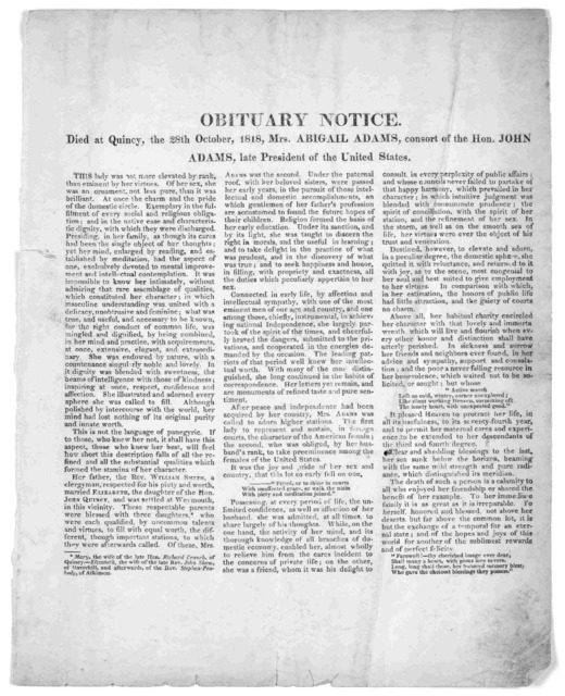 Obituary notice. Died at Quincy, the 28th October, 1818, Mrs. Abigail Adams, consort of the Hon. John Adams late president of the United States. [n. p. 1818].