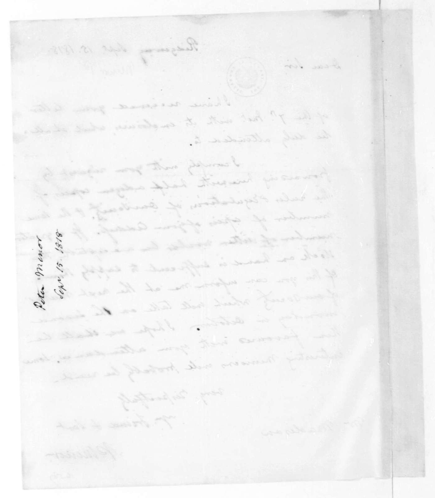Peter Minor to James Madison, September 15, 1818.