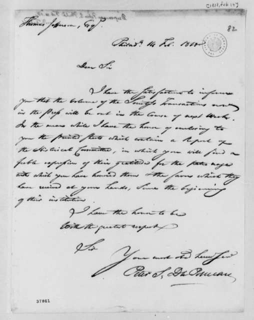 Peter S. du Ponceau to Thomas Jefferson, February 14, 1818