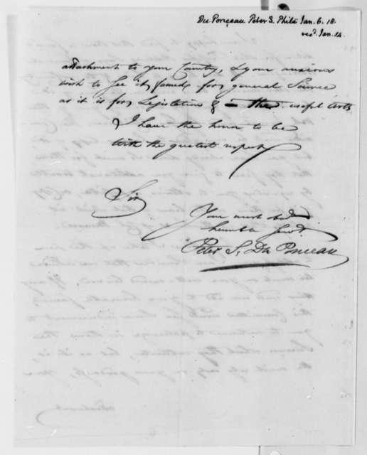 Peter S. du Ponceau to Thomas Jefferson, January 6, 1818