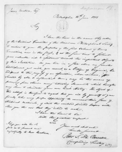 Peter S. Duponceau to James Madison, June 10, 1818.