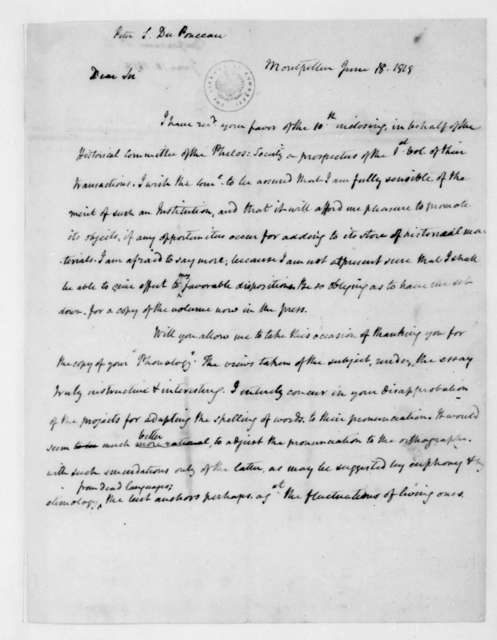 Peter S. Duponceau to James Madison, June 18, 1818.