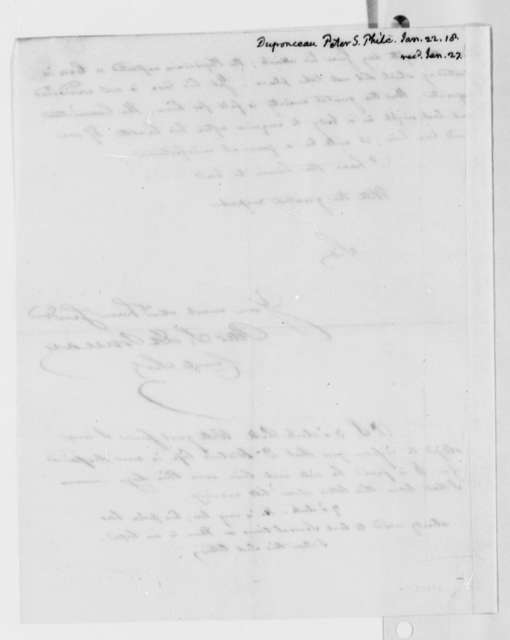 Peters S. du Ponceau to Thomas Jefferson, January 22, 1818