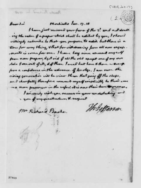 Richard Bache to Thomas Jefferson, January 17, 1818