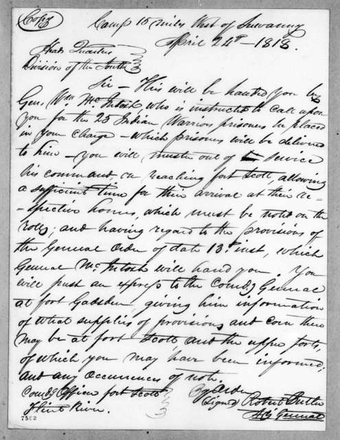 Robert Butler to Enos Cutler, April 24, 1818
