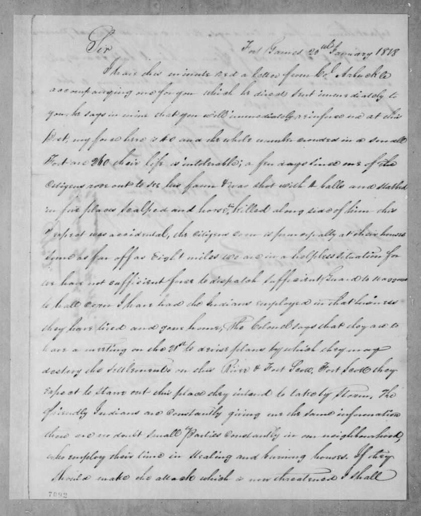 Robert Irvin to Thomas Glascock, January 20, 1818