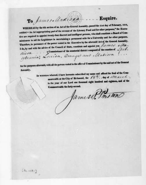 Robert Preston to James Madison, March 18, 1818. Printed Commission.