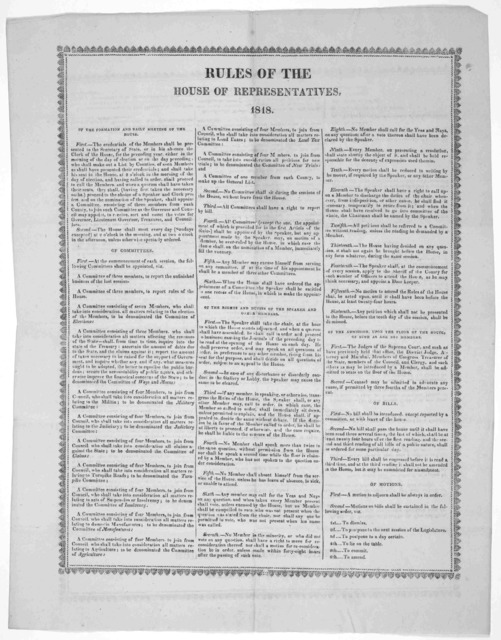 Rules of the House of representatives. 1818.