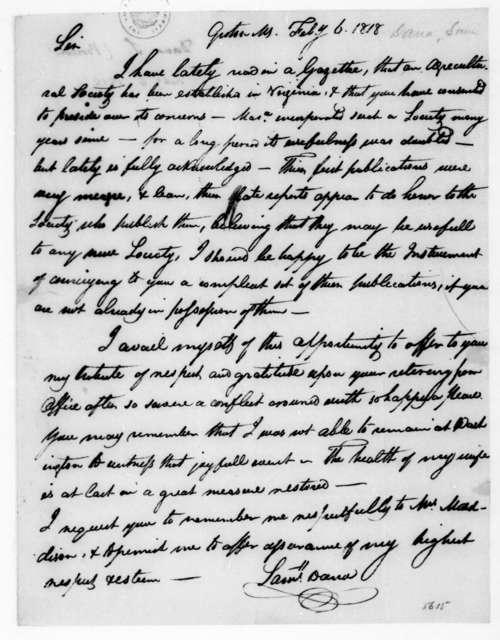 Samuel Dana to James Madison, February 6, 1818.