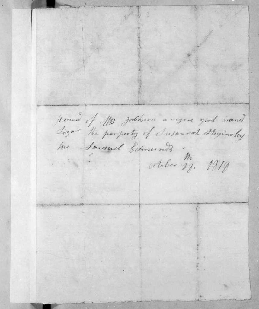 Susannah Stiggins to Andrew Jackson, June 2, 1818