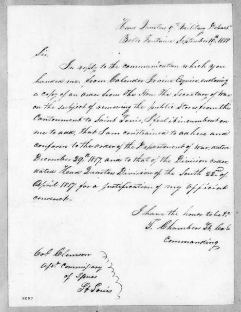 Talbot Chambers to Eli B. Clemson, September 19, 1818