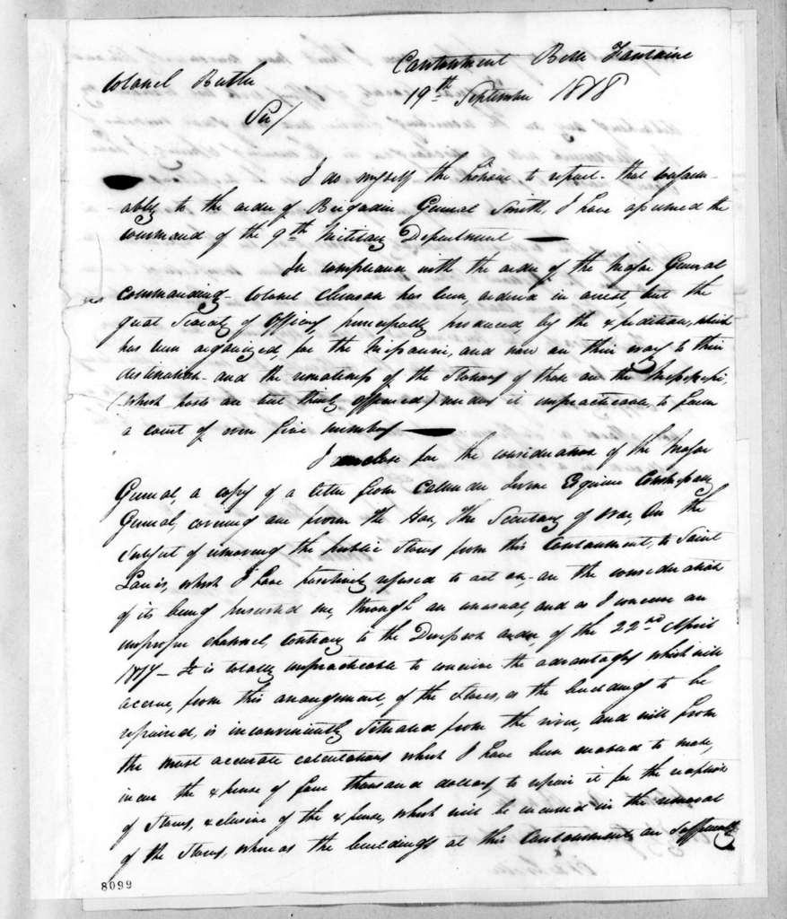 Talbot Chambers to Robert Butler, September 19, 1818