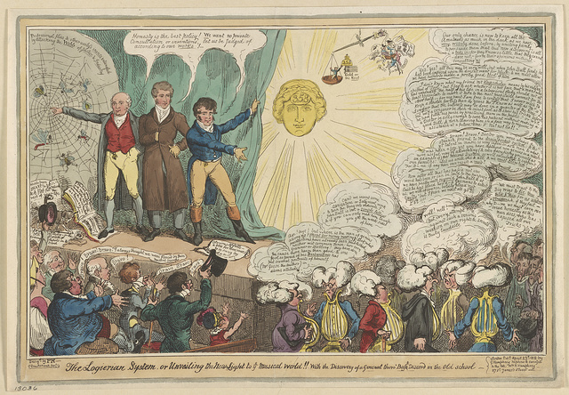 The Logierian system, or unveiling the new light to ye musical world!! With the discovery of a general thoro' base [altered to bass]discord in the old school / Desigd by P H-- ; G. Cruikshank, fect.