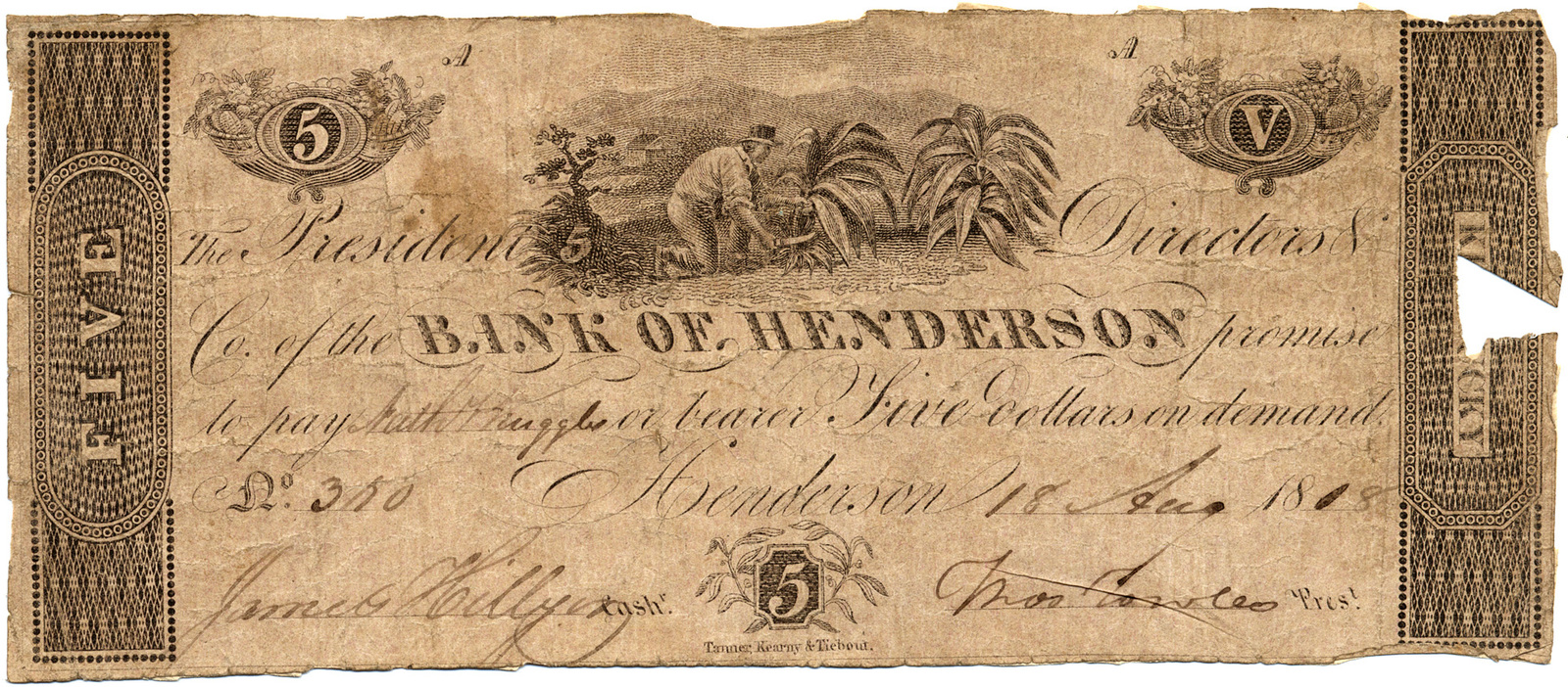 The president, directors & co. of the Bank of Henderson promise to pay ... or bearer, five dollars on demand. Henderson 18 Aug. 1818