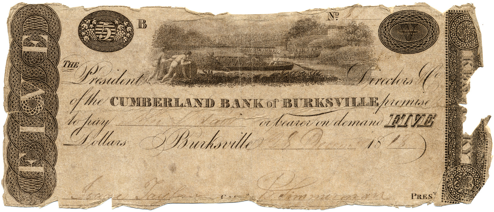 The president, directors co. of the Cumberland Bank of Burksville promise to pay ... or bearer on demand five dollars. Burksville 28 Decem. 1818.