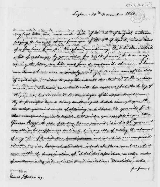 Thomas Appleton to Thomas Jefferson, November 10, 1818