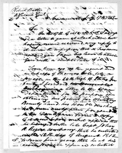 Thomas Cole to Robert Butler, July 17, 1818