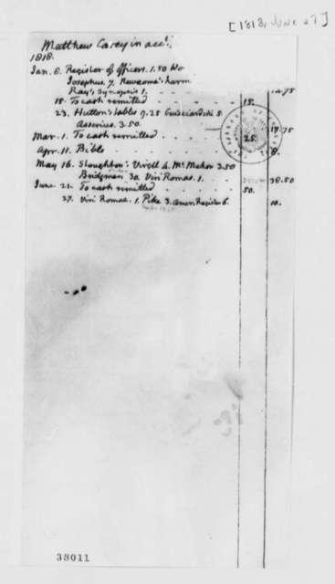 Thomas Jefferson Matthew Carey, June 27, 1818, Account, Mutilated