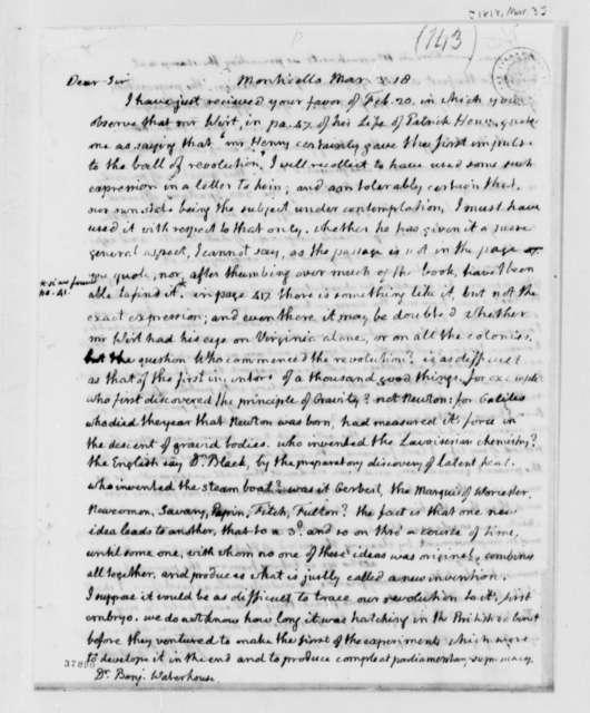 Thomas Jefferson to Benjamin Waterhouse, March 3, 1818