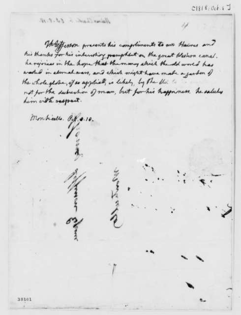 Thomas Jefferson to Charles G. Haines, October 8, 1818