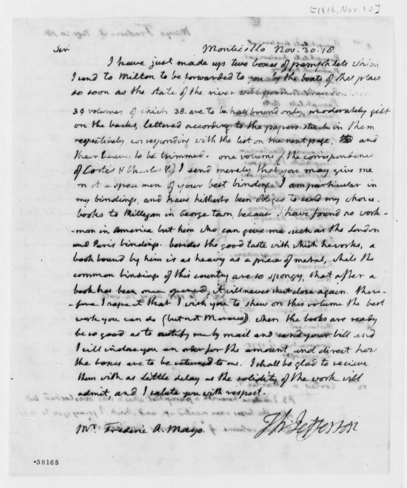 Thomas Jefferson to Frederic A. Mayo, November 30, 1818, with List