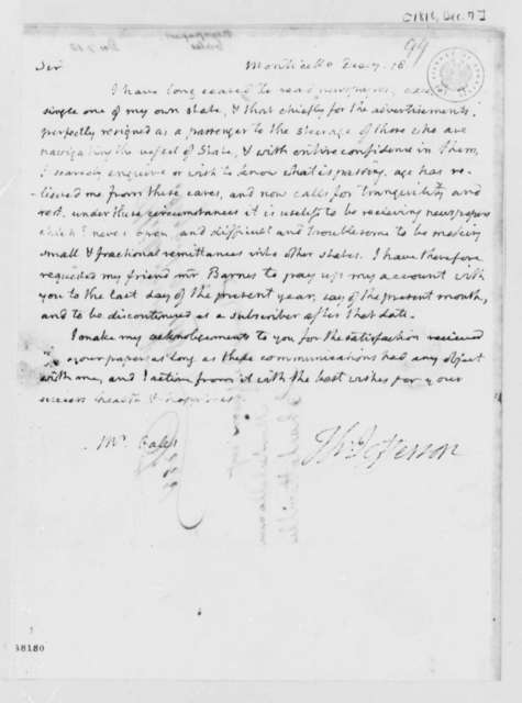 Thomas Jefferson to Gales & Seaton, December 7, 1818