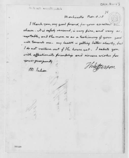 Thomas Jefferson to Honore Julien, November 8, 1818