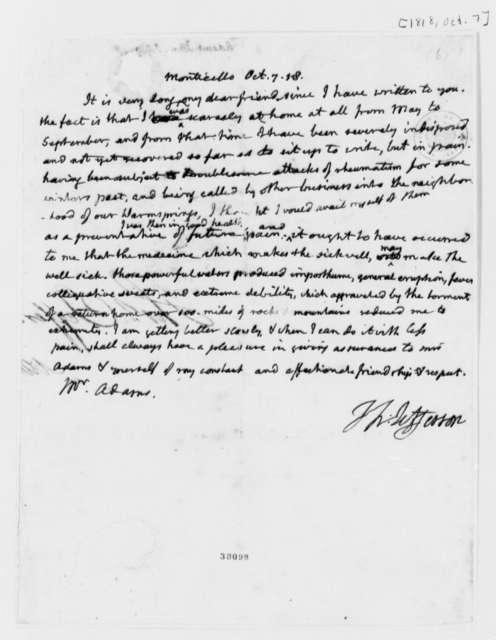 Thomas Jefferson to John Adams, October 7, 1818