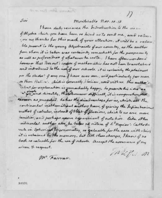 Thomas Jefferson to John Farrar, November 10, 1818