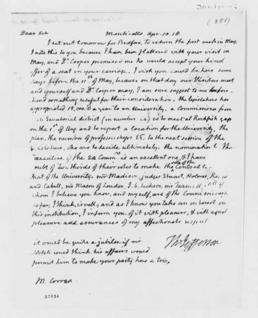 Thomas Jefferson to Jose Correa da Serra, April 10, 1818