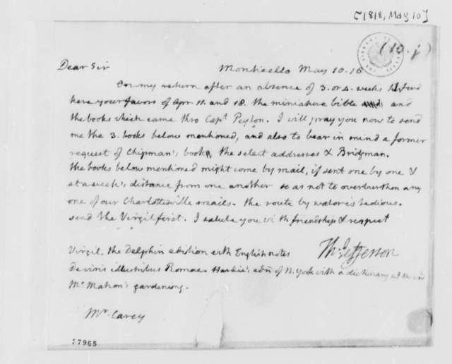Thomas Jefferson to Matthew Carey, May 10, 1818