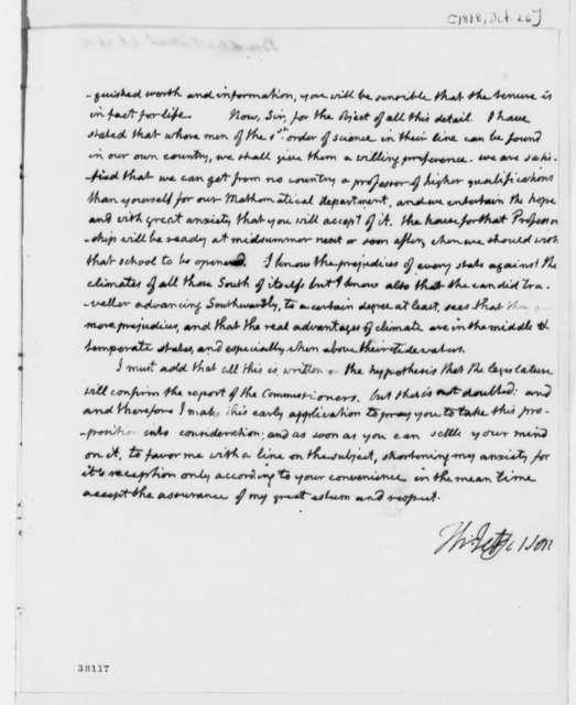 Thomas Jefferson to Nathaniel Bowditch, October 26, 1818