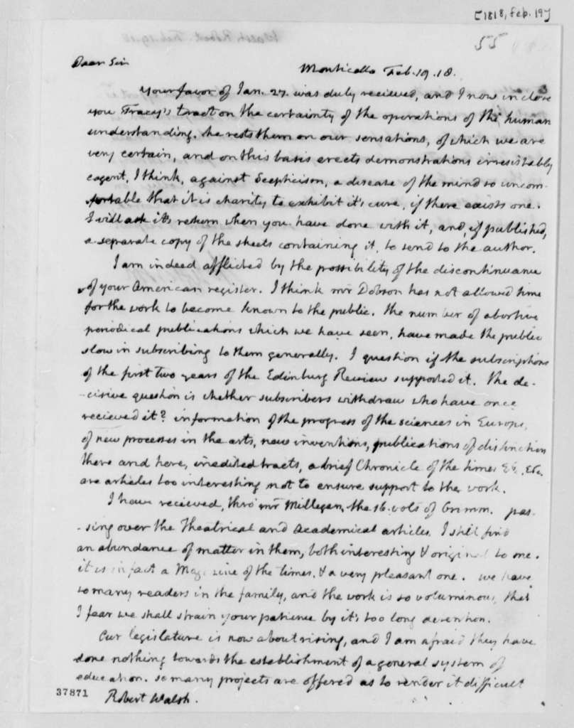 Thomas Jefferson to Robert Walsh, Jr., February 19, 1818