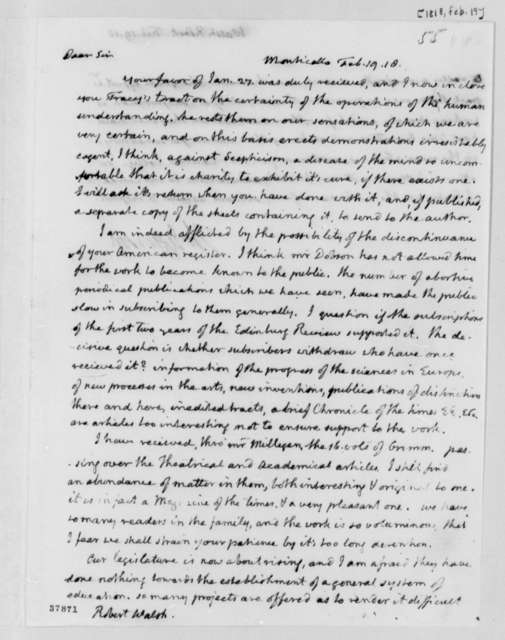 Thomas Jefferson to Robert Walsh, Jr., February 19, 1818