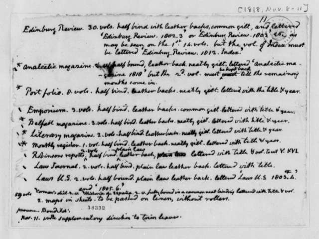 Thomas Jefferson to William F. Gray, November 8, 1818, Journals List and Instructions