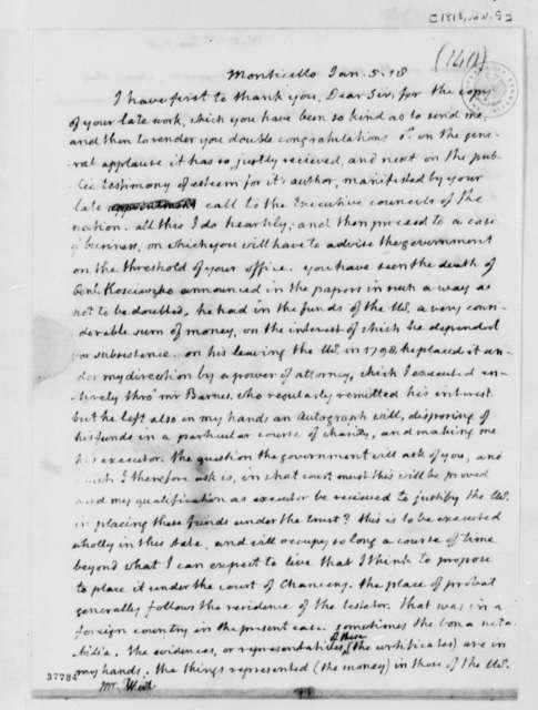 Thomas Jefferson to William Wirt, January 5, 1818